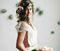 Bride hairstyling and wedding dress
