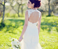 Spring wedding dress and bouquet