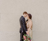 Pink and gold wedding portrait