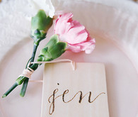 Wooden engraved escort card