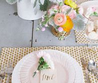 Pink and gold Mother's Day place setting