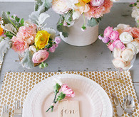 Pink and gold Mother's Day floral centerpiece