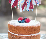 Red white and blue naked cake