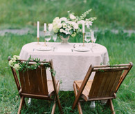 Organic green and gold wedding tablescape