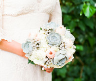 Succulent and hydrangea bridal bouquet