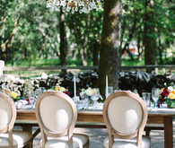 Outdoor dinner party decor