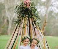 Floral teepee and tutu shoot
