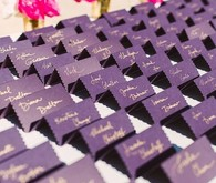 Purple escort card display