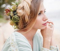 Tropical bridal floral hairstyle