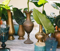 Gold and blue tropical decor