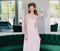 Elegant light pink bridesmaid dress