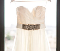 Wedding dress with silver belt