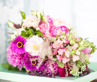 Pink and mint green floral arrangement