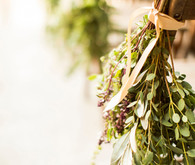 Olive branch leaf ceremony aisle decor