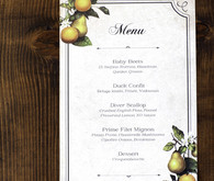 Winery fall wedding dinner menu