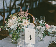 Rustic SmogShoppe light grey and pink tablescape