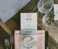 Light pink and grey place setting