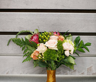 Pink rose and greenery bouquet