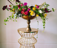 Colorful centerpiece with gold base