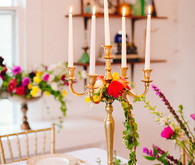 Gold and white candleabra