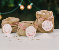 Brown paper bag ingredients with red name tags