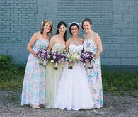 Bridesmaid with purple and green accents