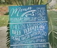 Tie-dyed calligraphy menu signage