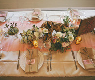Pink and cream place setting