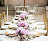 Gold and pink bridal shower tablescape