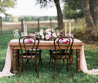 Romantic outdoor wedding tablescape