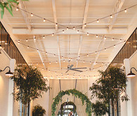 Rustic indoor wedding ceremony