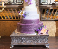 Purple floral wedding cake