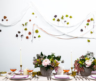 Colorful spring wedding tablescape