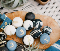 blue and black macarons