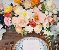 Colorful wedding floral arrangements