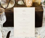 Rustic fall wedding menu