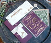 Plum and gold foil elopement invitation