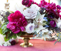 Plum and light purple centerpiece