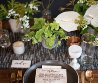 Rustic modern wedding tablescape