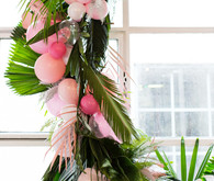 tropical wreath with balloons