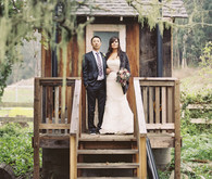 Outdoor rustic wedding portrait