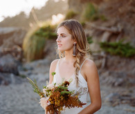 Bohemian beach bridal portrait