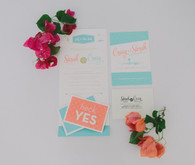 Retro wedding invitation suite