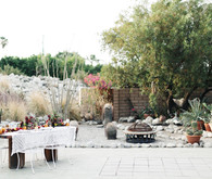 Bohemian desert wedding reception