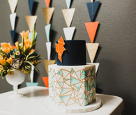 Retro geometric wedding cake