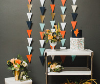 Retro geometric wedding cake table