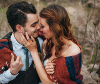 Bohemian outdoor wedding portrait