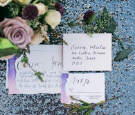 Romantic hand-lettered wedding invitation suite