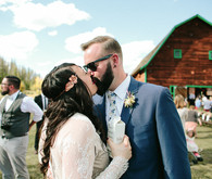 Colorado barn wedding portrait