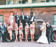 Industrial wedding party portrait